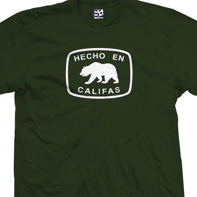 Hecho en califas bear t shirt for Bay area custom shirts