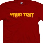 Custom Fire and Flames Font Text T-Shirt