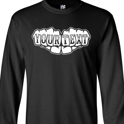 Custom Knuckle Tattoo Fists Long Sleeve Shirt