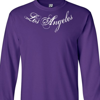 Los Angeles Distressed Collar Bone Script Long Sleeve Shirt