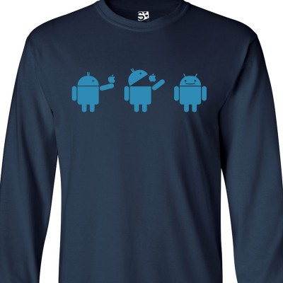 Android Eating Apple Long Sleeve Shirt