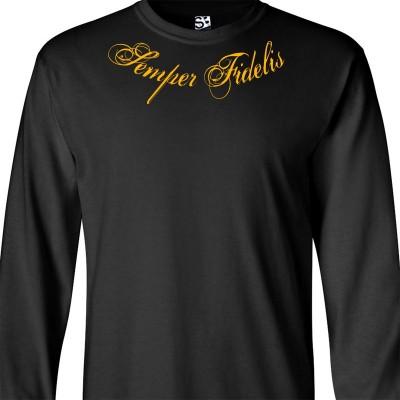 Semper Fidelis Distressed Collar Bone Script Long Sleeve Shirt